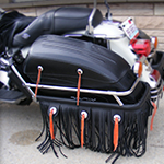 Handcrafted custom motorcycle leather fringe accessories